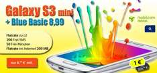 Samsung Galaxy S3 mini + O2 Blue Basic nur 8,99€ mtl. Kein Anschlußpreis Internet + o2 Flat + 200 SMS + 50 min