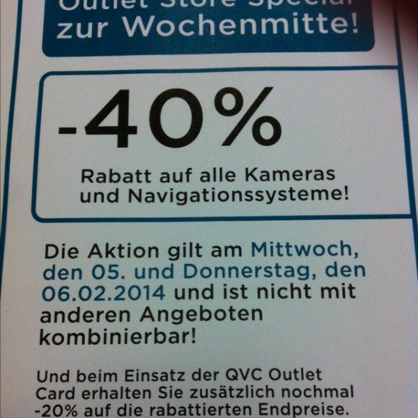 ( Lokal Düsseldorf ) 40% auf alle Navigationsgeräte und Kameras bei Qvc im Outletstore