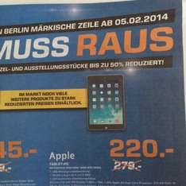 Lokal Berlin-MV iPad Mini (1.Gen) Wifi Grau für 220€