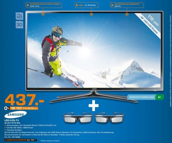 Samsung UE46F6170SSX 437€,Samsung UE55F6340 855€ Lokal Tagesangebot [Saturn Dortmund,Lünen]
