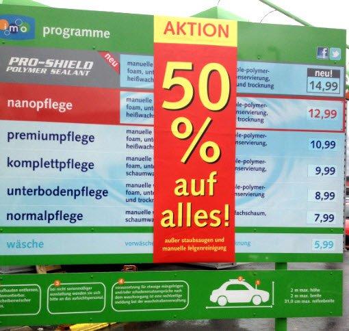 Lokal: Ennepetal am Marktkauf gibt es 50% auf die Autowäsche bzw. Waschanlage