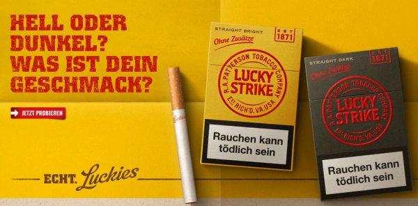 [neue Aktion!] Schachtel Lucky Strike Straight Dark oder Bright