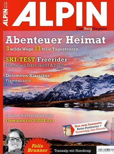 Alpin - Das Berg-Magazin 3 Monate für 1,90€ (11,90€ - 5€ Scheck - 5€ Cashback)
