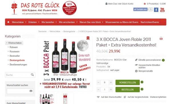 """Sehr hochwertiger Ribera del Duero Wein, 3er Kiste """"BOCCA"""" , Endpreis ca. 50% reduziert, für 29,99 €"""