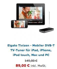 Elgato Tivizen - Mobiler DVB-T TV-Tuner für 89,-!