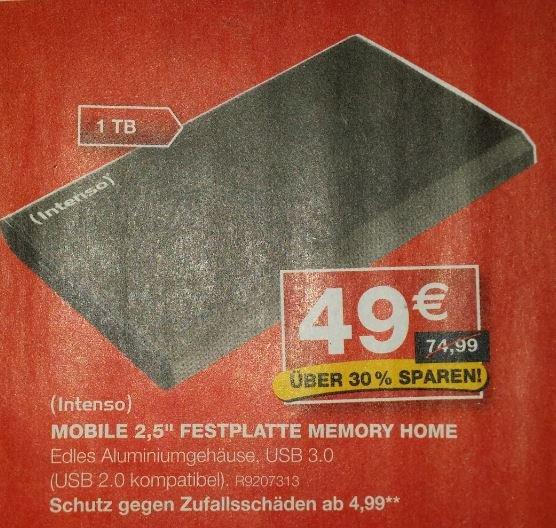 """Staples 1TB Mobile 2,5"""" externe Festplatte Memory Home von Intenso, USB 3.0, lokal in versch. Märkten"""