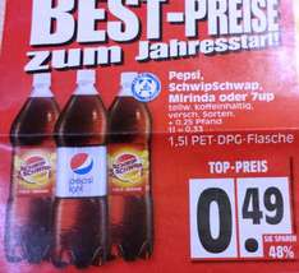 [Lokal Edeka] Pepsi, SchwipSchwap und Co 1,5l für 49 Cent