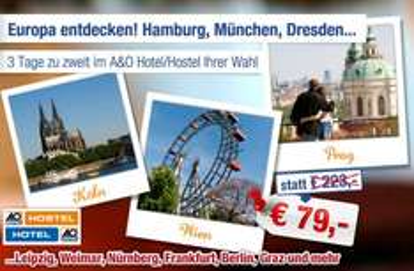 AO Hostels und Hotels: 3 Tage inkl. Frühstück für nur 79€