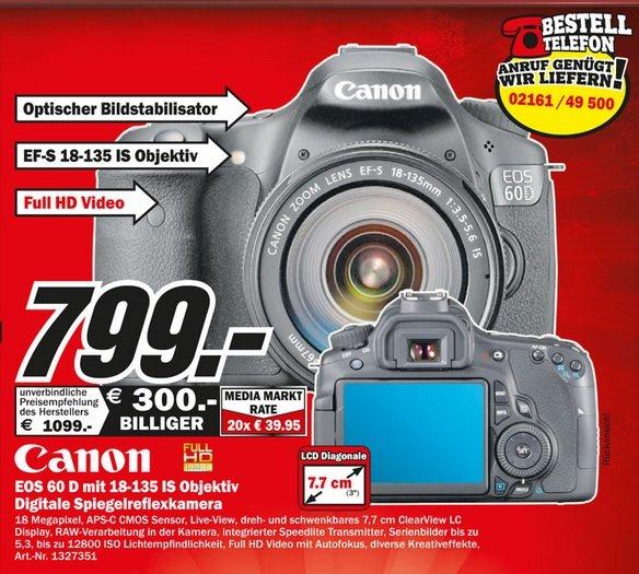 Canon EOS 60D + 18-135mm IS 799€ Lokal [Mediamarkt Mönchengladbach]