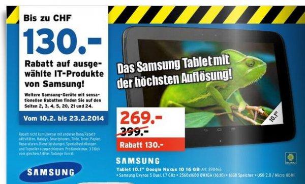 [CH] Samsung / Google Nexus 10, 16GB, 269CHF (220€)