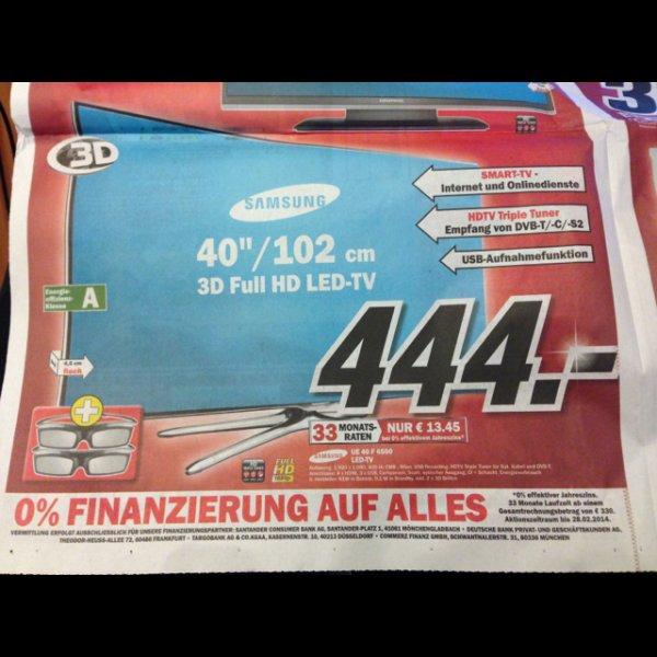 [lokal Nordhausen] Samsung UE 40 F 6500 3D LED TV