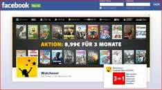 watchever.de-Facebook Aktion // 8,99 EUR für 3 Monate Film-Serien-Flatrate