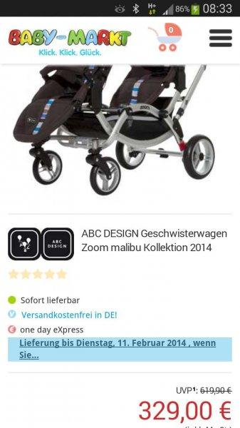Abc Design geschwisterwagen für nur 329 € auf Baby-Markt.de