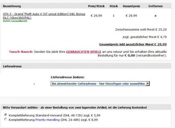 GTA 5 bei GameOnly und Gameshop für 35,98 incl. versand  XBOX360