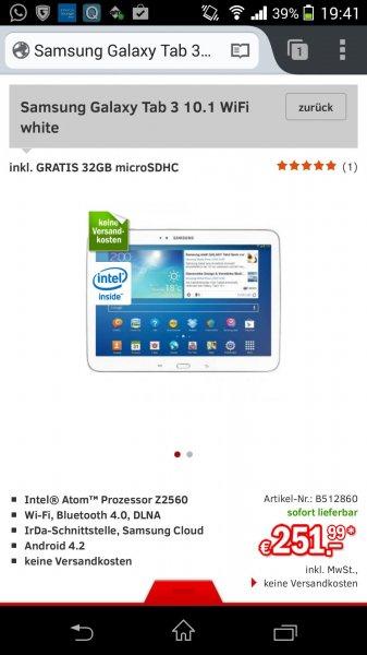 Samsung Galaxy Tab 3 10.1 WiFi White Inc. 32 GB MicroSDHC