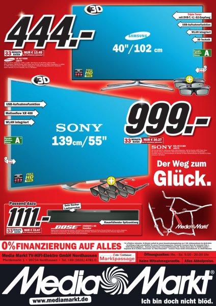 Sony KDL-55W805 140 cm (55 Zoll Display),LCD-Fernseher,400 Hz ) +4 Brillen