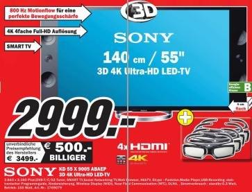 [MediaMarkt Lokal:Bochum,NRW] Sony KD-55X9005A 4K Ultra HD-TV für 2.999€
