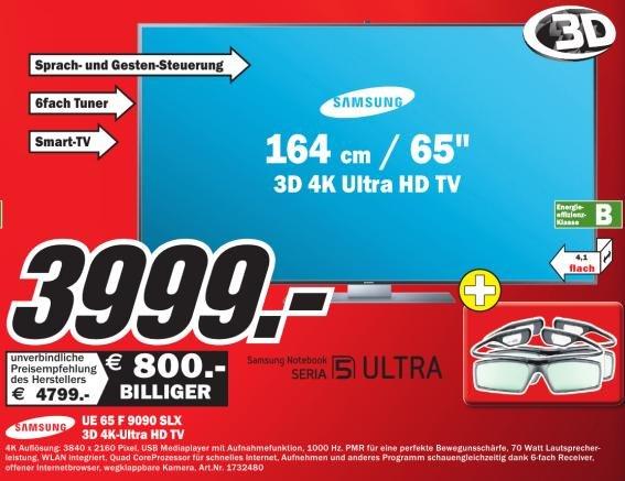 [MediaMarkt Lokal:Bochum,NRW] Samsung 4K-TV UE65F9090 für 3.999€
