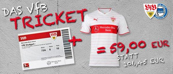 VfB Stuttgart Trikot + Eintrittskarte VfB - Hertha BSC am Samstag, 22.02. für insgesamt  61€