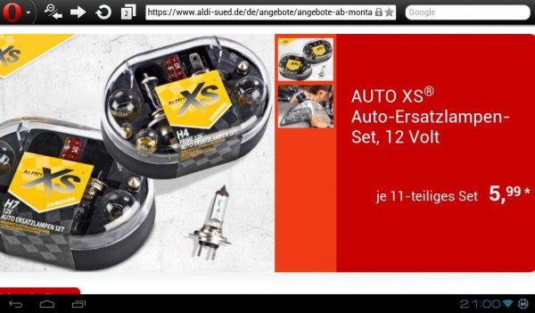 Aldi Süd /wieder da/ Auto Ersatzlampenset H4 & H7 , ab 17.02.14