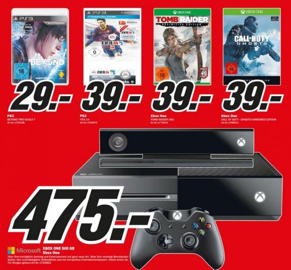 Xbox One 500GB 475€ COD Ghosts 39€,Tomb Raider: Definitive Edition 39€ Lokal [Mediamarkt Velbert]