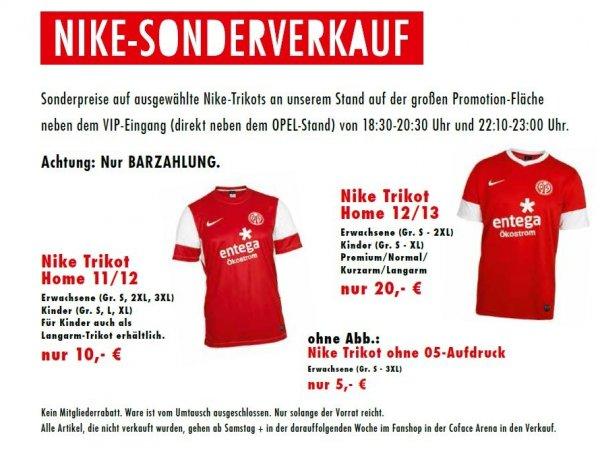 Lokal Mainz am 14.02.: Mainz 05 Trikots der Vorsaison für 20,-€ / Nike Trikots ohne Druck für 5€