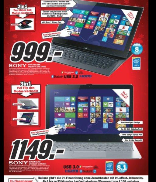 999€ Sony SVD1322U9EB Hybrid Ultrabook bei Media Markt in Berlin und Brandenburg