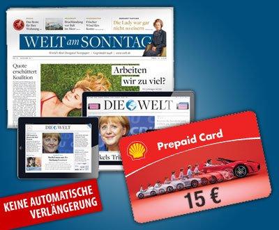 9 x Welt am Sonntag effektiv 6 € (über Daily Deal mit 15€ Shell Gutschein