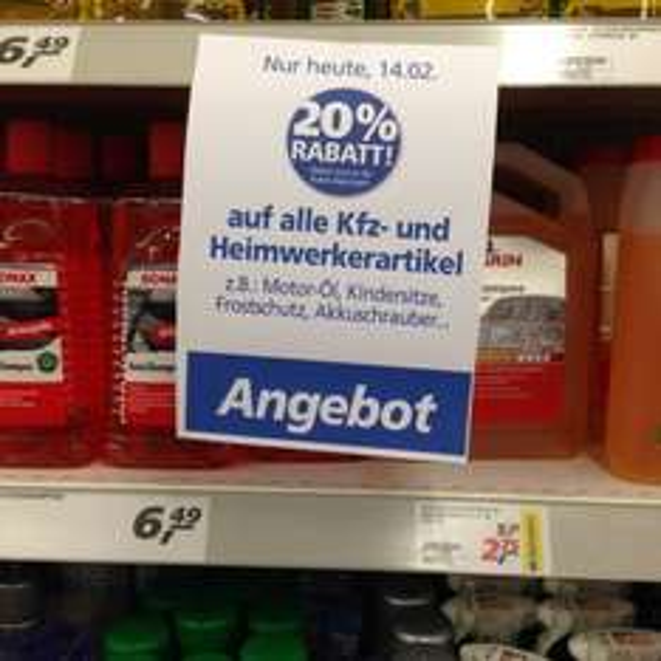 20% auf Kfz- und Heimwerkerartikel im Real (lokal?) in Hürth bei Köln