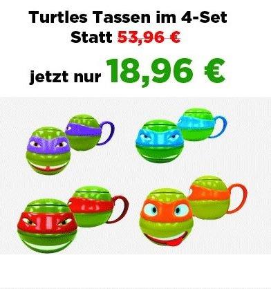 3-D Turtles Tassen im 4-Set je 500ml für 18,96€ all in (statt 53,96) @Elfen.de