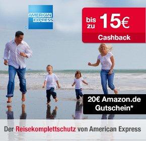 Reisekomplettschutz von American Express mit 15€ Qipu Cashback + 20€ Amazon Gutschein (ab 11€ / Jahr)