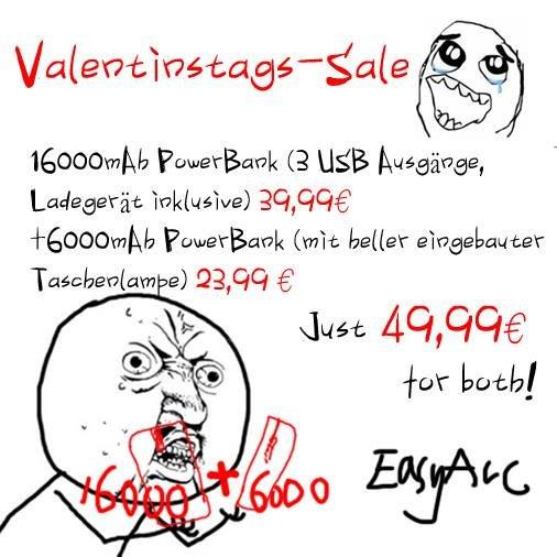 [Valentinstag-Sale] EasyAcc 16000 mAh 3 USB 4.4 A PowerBank + 6000 mAh Kompakt-PowerBank zusammen für 49,98€! (mit Gutscheincode)
