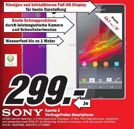 [Bielefeld] Sony Xperia Z bei MediaMarkt für 299€