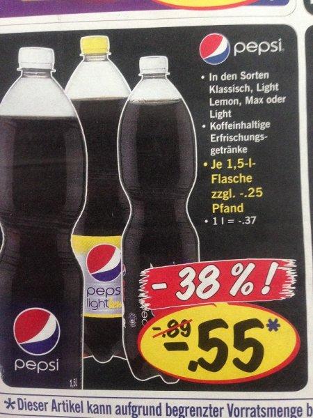 Pepsi Cola 1,5l Flaschen  (Klassisch, Light, Light Lemon, Max) [1l=0,37€] @ Lidl  [Netto Markendiscount 0,59€]