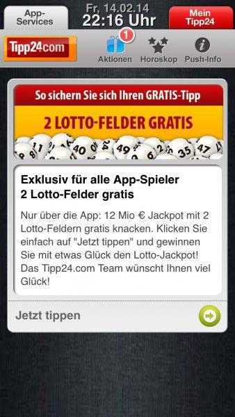 Tipp24 Neu- und Bestandskunden: Exklusiv für alle App-Spieler 2 Lotto-Felder gratis