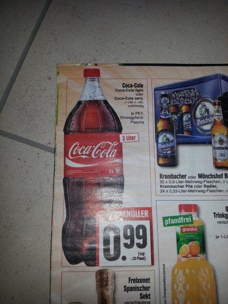 Coca-Cola verschiedene Sorten in der 2 Liter Flasche nur 99 cent!! nächste Woche bei EDEKA