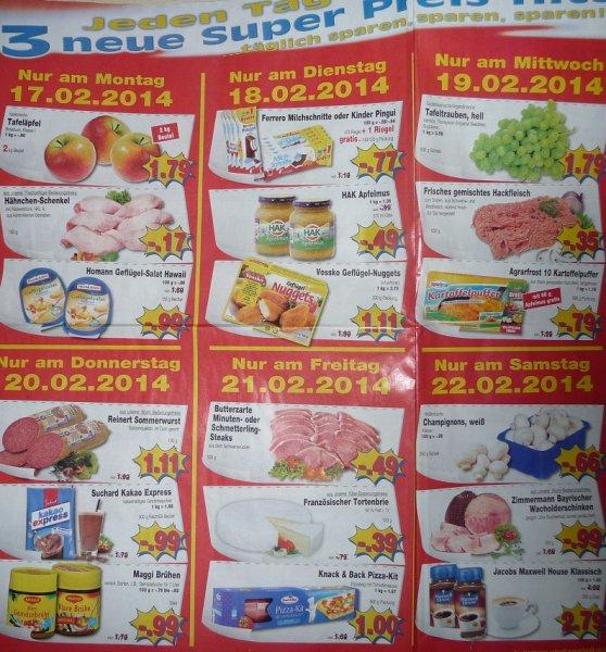 (NRW) Kaufpark Tages Preishits 17.2 - 22.2 zb. 4x Kinder Pingui/ 5x Milchschnitte 0,77 €
