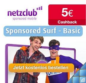 Kostenlose netzclub-SIM-Karte (inkl. dauerhafter Flat) mit 5€ Cashback als Bonus!!
