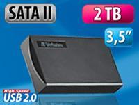 "Verbatim Externe 3,5"" (8,9cm) SATA-II-Festplatte 2TB, USB 2.0 - 66,66€ (71,56€ inkl. VSK)"