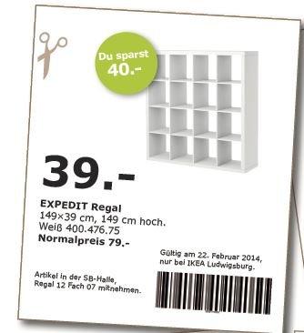 [IKEA Ludwigsburg] EXPEDIT Regal 4x4 weiß für 39,- statt 79,- (Onlinecoupon! Nur am 22.02.14)