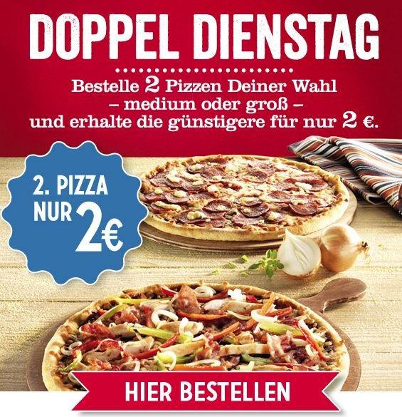 Doppel Dienstag bei Dominos - 2 mittlere oder große Pizzen bestellen und die günstigere für nur 2€ bekommen