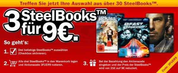MediaMarkt.de: 3 Steelbook[Blu-ray, DVD] für 9€ + VSK