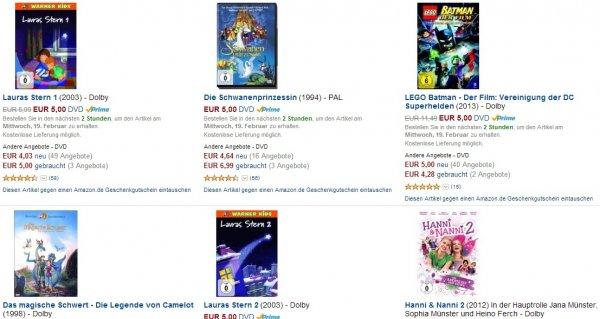 Kinderfilme für nur 5€ bei Amazon.de
