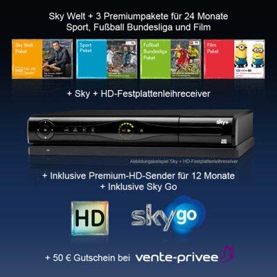 24-Monats-Abo Sky Welt + 3 Premiumpakete + Sky+HD-Festplattenleihreceiver + 12 Monate HD-Sender