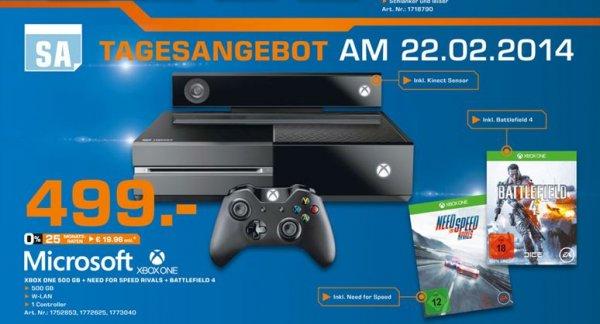 [Lokal Saturn Hamburg] Xbox One + Need for Speed - Rivals + Battlefield 4 für 499€