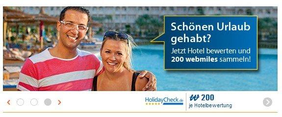 200  webmiles pro Hotelbewertung auf Holidaycheck