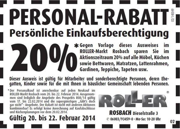 Lokal Roller Möbel Rosbach 20% auf fast alles 20-22.02.