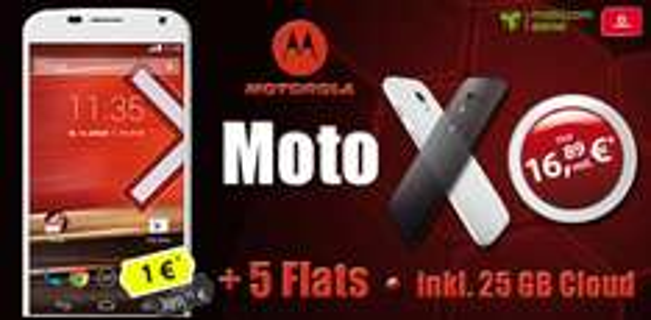 Motorola Moto X + 5 Flats incl 25Gb Cloud nur 16,89€ im Monat