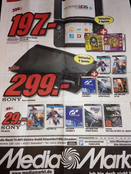 Media Markt Düsseldorf Bilk - PS3 + 5 Spiele für 299€