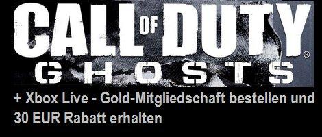 Call of Duty: Ghosts + Xbox Live - Gold-Mitgliedschaft bestellen und 30 EUR Rabatt erhalten